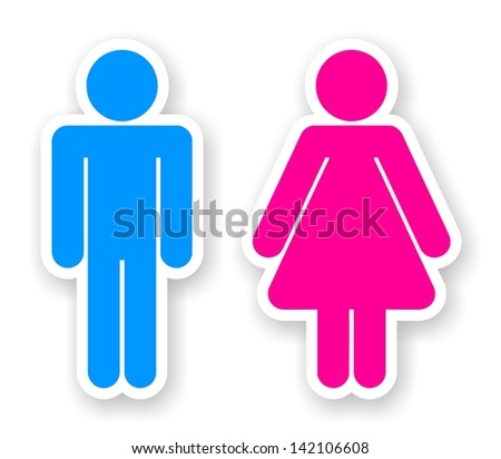 Stickers of man and woman toilet symbols