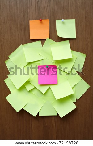 stickers on a brown background - stock photo