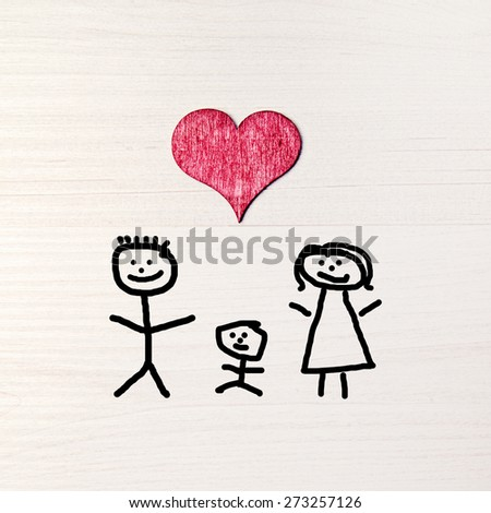 stickman background - greeting card - happy family - stock photo