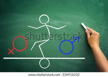 stickman deciding about sex change, sketch on chalkboard - stock photo