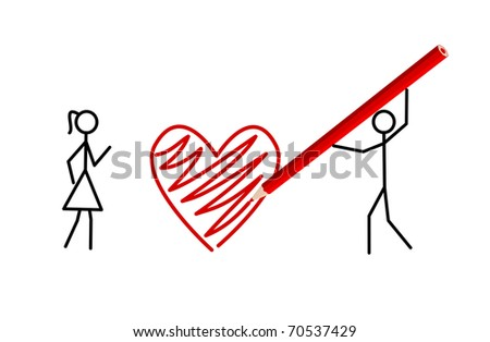 Stickman's valentine - Two stickmans in love draw a heart with a crayon (vector version also available) - stock photo