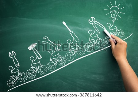 stickmen ride bike with gears, concept community and teamwork - stock photo