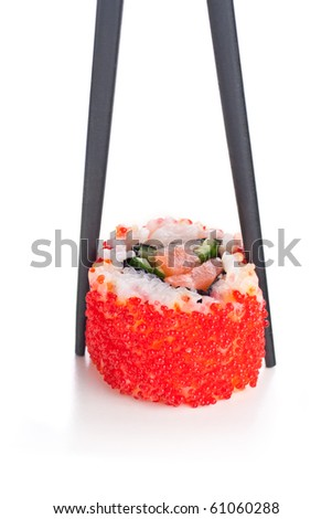 Sticks and California roll on the white backgruond - stock photo