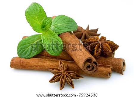Sticks of cinnamon with mint and anise  on a white background - stock photo