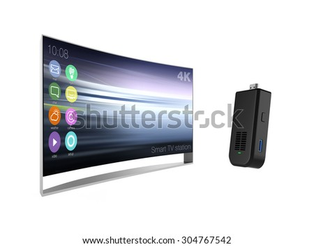 Sticktype computer and curved television isolated on white background - stock photo