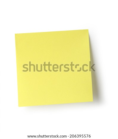 Sticky note isolated on white background with clipping path. - stock photo