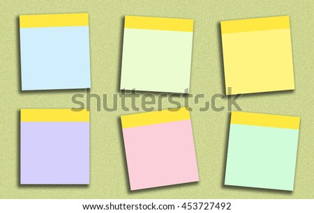 Sticky note many colour have blue green pink yellow