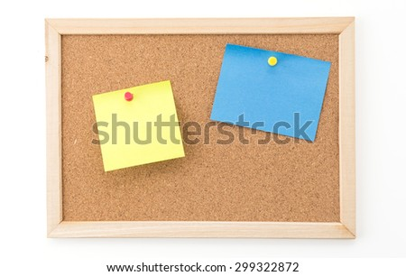 sticky note on cork board, empty space for text