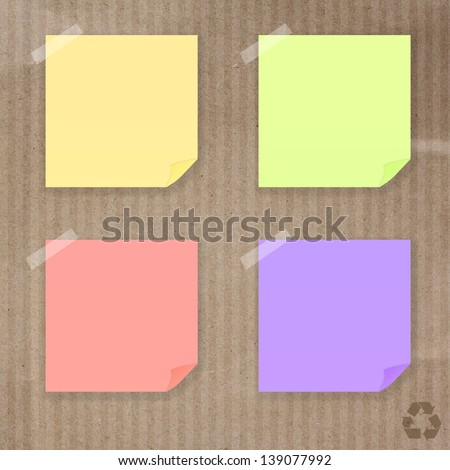 Sticky note paper on Recycle paper texture background