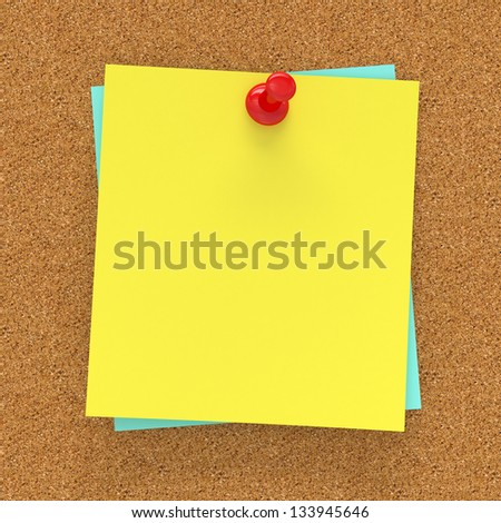 Sticky note pinned on corckboard 3d render