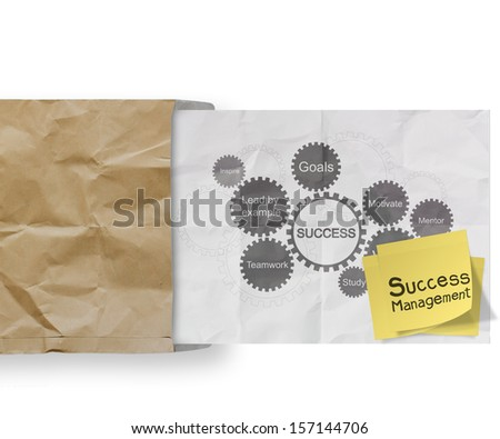 sticky note with success management and gear business success chart on  crumpled paper background as concept - stock photo