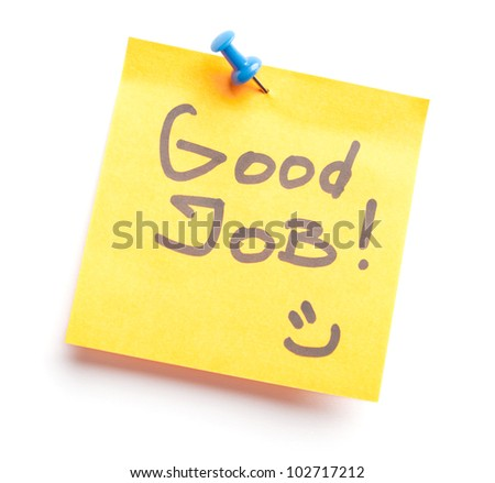 Sticky note with text Good job on it, isolated on white background - stock photo