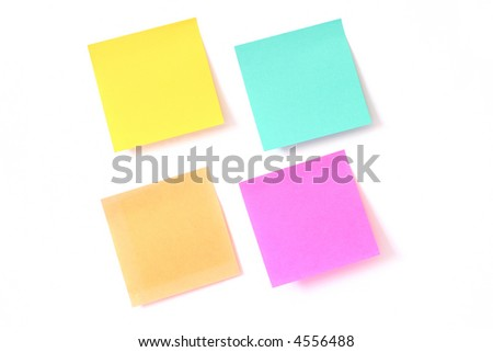Sticky notes isolated on white