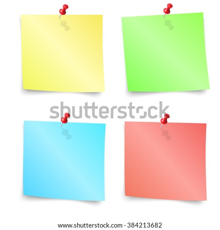 Sticky Notes - Set of Colorful sticky notes isolated on white background. illustration Raster version - stock photo
