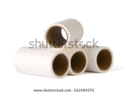 Sticky paper rolls on white background.