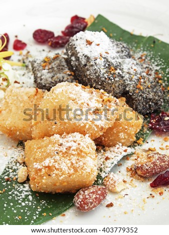 Sticky rice cake on white plate    - stock photo