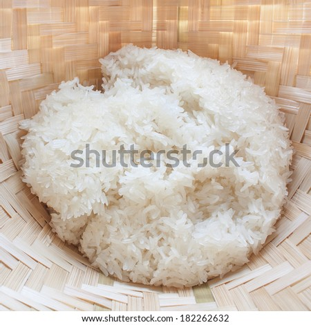 sticky rice in old wooden steamer