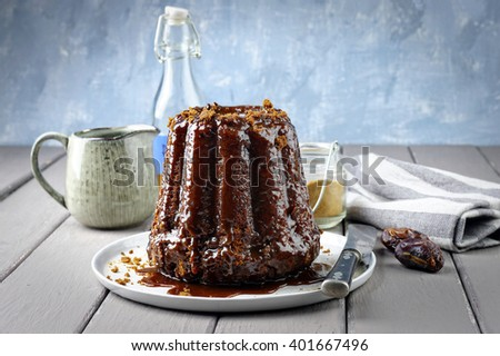 Sticky Toffee Pudding on Plate - stock photo