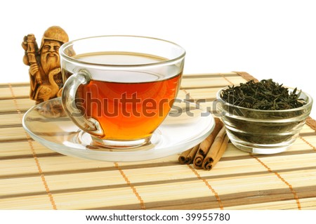Still life : a cup of tea and related items