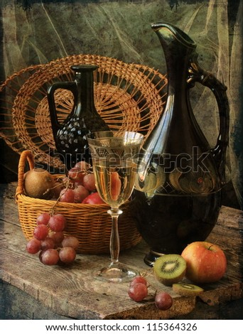 still life, aromatic white wine and fresh juicy fruits - stock photo