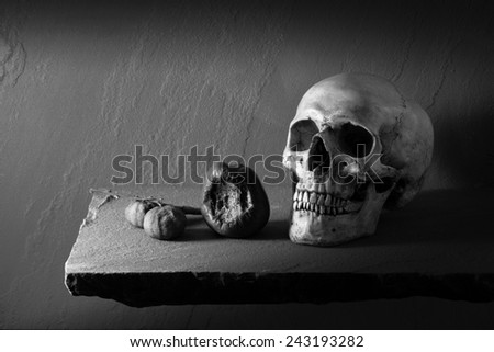 Still life art photography expired concept with human skull oranges and apple black and white version - stock photo