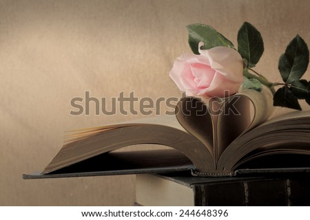 Still life art photography love concept with pink rose vintage book pages love heart sign on grunge  - stock photo