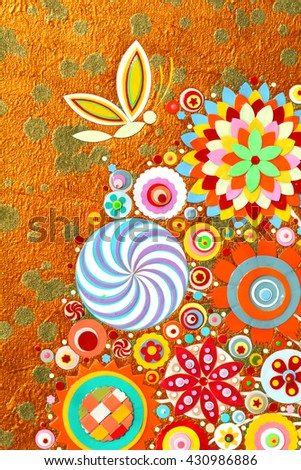 Still life art with roses and various flowers on gold background and butterflies harvesting flowers. Textured gold art painting with flowers. Floral art composition in gold. - stock photo