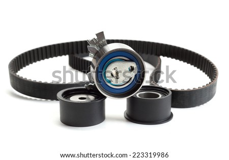 Still Life Belt and roller. Isolate on white. - stock photo