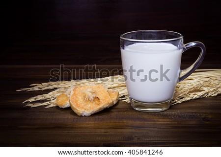 Still Life bread & milk for breakfast - stock photo
