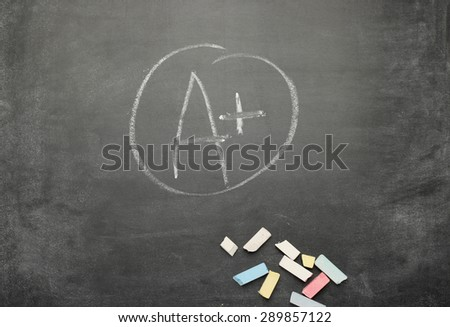 Still life, business, education concept. Black dusty chalkboard with A+ text. Selective focus, copy space background, top view - stock photo