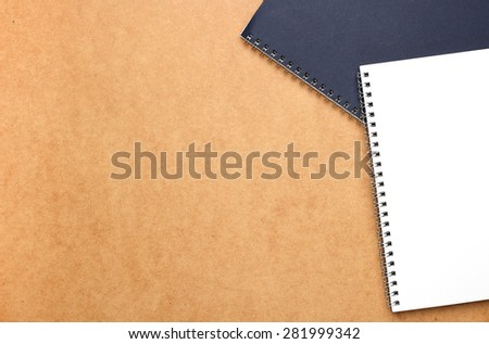 Still life, business, education concept. Office supplies, notepads on a table. Selective focus, copy space background, top view - stock photo