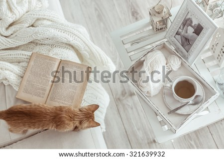 Still life details, cup of tea on retro vintage wooden tray on a coffee table in living room, top view point. Lazy winter weekend with a book on the sofa. - stock photo