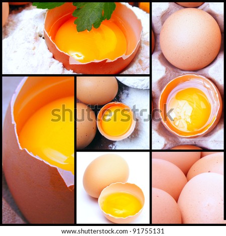 Still life eggs, flour and kitchen tools on a wooden board. Kitchen collage. - stock photo