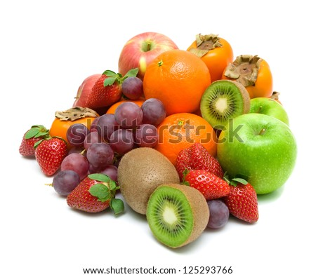 still life. fresh fruit and berries isolated on a white background. - stock photo