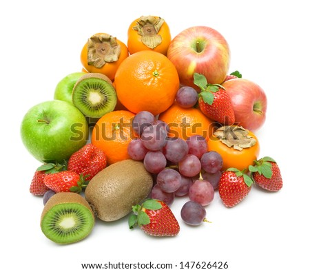 still life. fresh juicy fruits isolated on a white background. top view - horizontal photo. - stock photo
