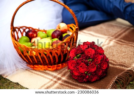 Still life fruits, fresh fruit display in wooden basket - stock photo