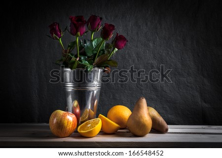 Still life fruits, fresh fruit display in wooden table  - stock photo