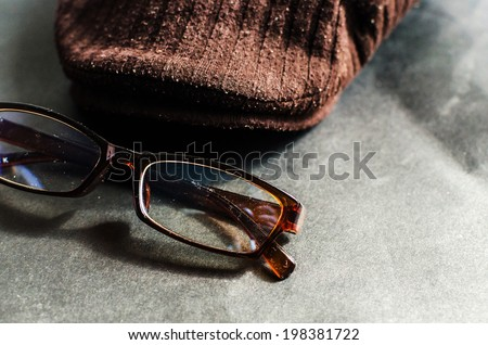 Still life Glasses and hats , Glasses and hats of artist - stock photo