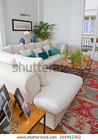 Still life home interior of an elegant family living room with a stylish white sofa and quality carpet, family pictures and plants, house living indoors. Aspirational luxurious lifestyle interior. - stock photo