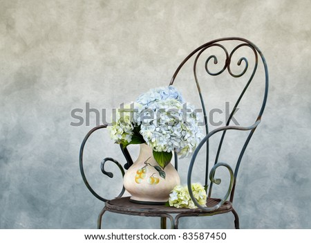 Still Life illustration with Hortensia Flowers in Oil Painting Style