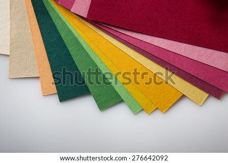 Still life image of a color swatch book shot in the studio on a white background