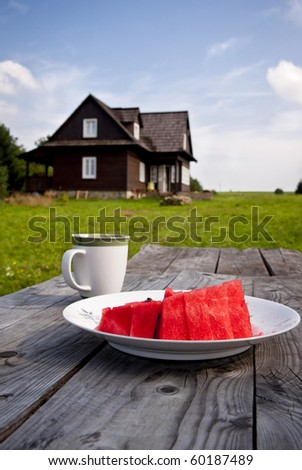 Still life : juicy watermelon, cup of coffee - dessert outdoors - stock photo