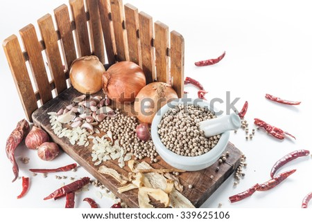 Still life of asia seasoning on white - Spicy seasoning with lot of chili - stock photo