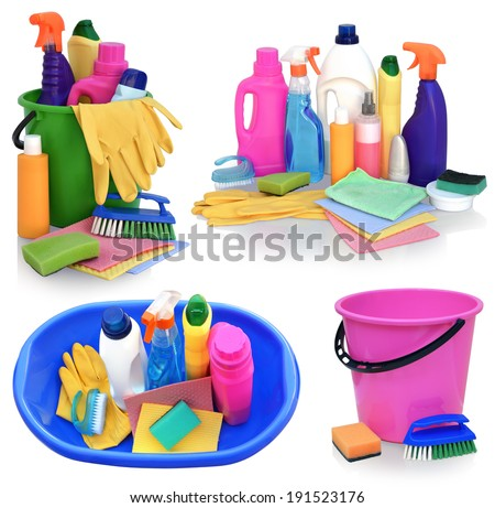 Still life of assortment of various bright means for cleaning isolated on white background. Cleaner bathroom, cleaner for glass, powder for metal products, concentrated air freshener, wipes, pail