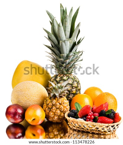 still life of big  heap multi-coloured fruits , on white background, isolated