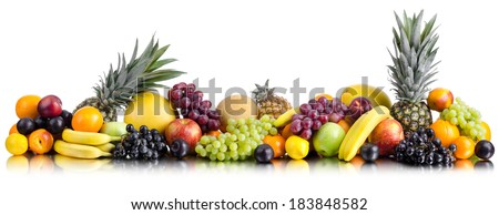 still life of big  heap multi-coloured fruits , on white background, isolated. Panorama of two photography - stock photo