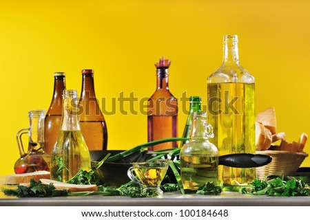 still life of bottles of vegetable oil