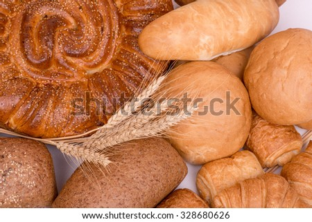 still life of different kinds of bread - stock photo