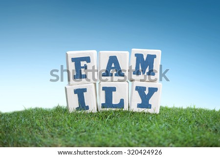 still life of FAMILY sign concept made of wooden blocks on a green grass under the bright blue sky - stock photo