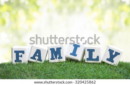 still life of FAMILY sign concept made of wooden blocks on a green grass with bokeh background - stock photo